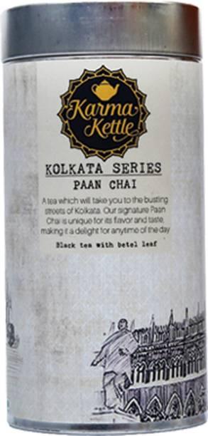 Karma Kettle Paan Chai with CTC Tea, Paan Leaves, Fennel, Licorice, Supari, Rose Petals and Elaichi Black Tea Tin