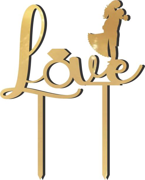 """Creatick Studio """"Love"""" Cake Topper / Cake Decoration Item / Special Cake Decoration for Kids Wife Husband Friend cousin - Pack of 1 Cake Topper"""