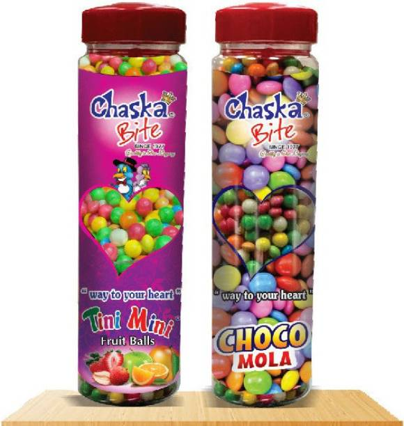 CHASKA BITE  Choco Mola Tiny Miny Chocolate Gems 2 x 250 gm Pack of 2 CHCOCOLATE FLAVOR, FRUIT FLAVOR Sour Candy