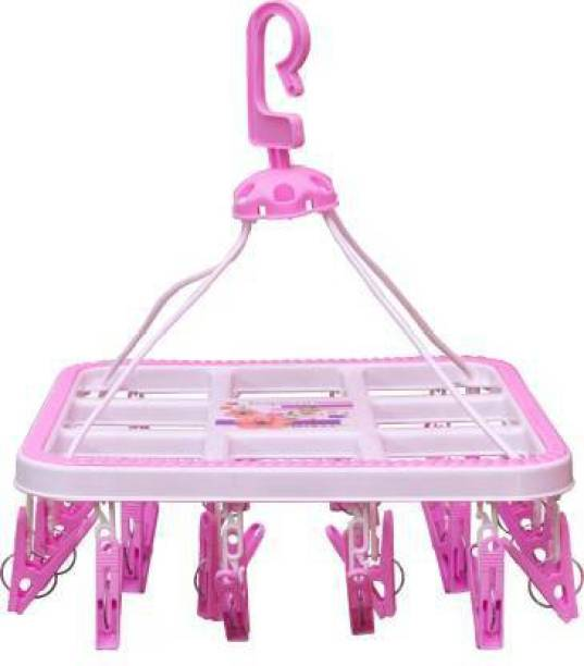 CREW4 Plastic Ceiling Cloth Dryer Stand HANGING GARDEN SQUARE 24 CLIPS PINK