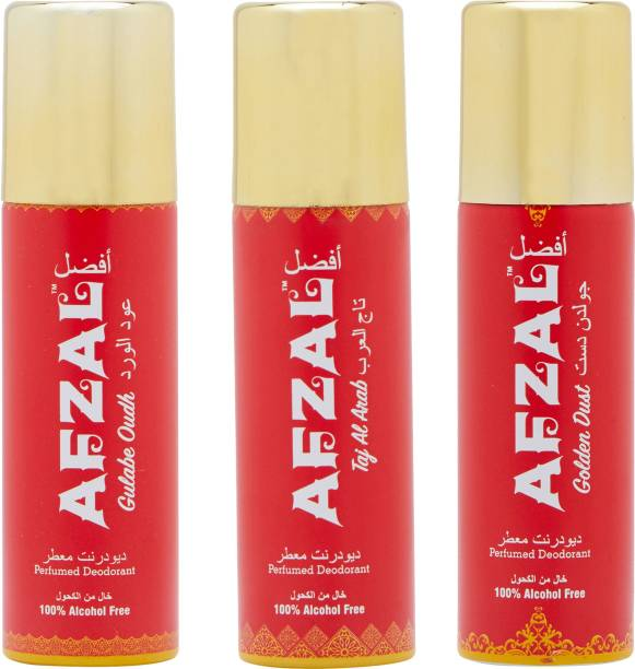 AFZAL Non Alcoholic Golden Dust, Taj Al Arab & Gulabe Oudh Combo Deodorants (Pack of 3 x 50ml) Deodorant Spray  -  For Men & Women