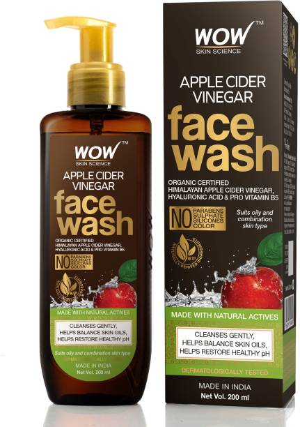 WOW SKIN SCIENCE Apple Cider Vinegar  - with Organic Certified Himalayan Apple Cider Vinegar - For Cleansing Skin, Balancing Skin Oils- No Parabens, Sulphate, Silicones & Color Face Wash