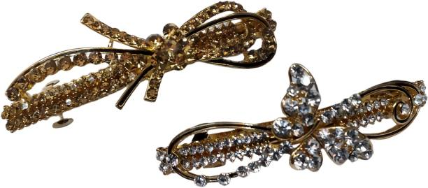 New Arihant Traders Hair Back Clips/Backpin Silver & Metallic color with stone for Women & Girls (2 pieces) Back Pin