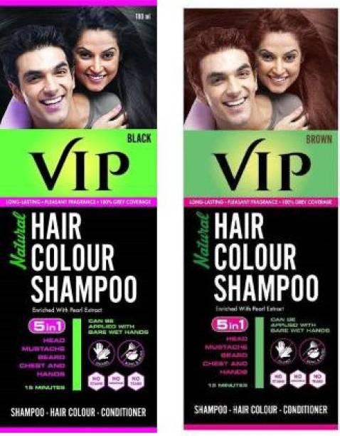 VIP NATURAL HAIR COLOUR SHAMPOO , BLACK, BROWN