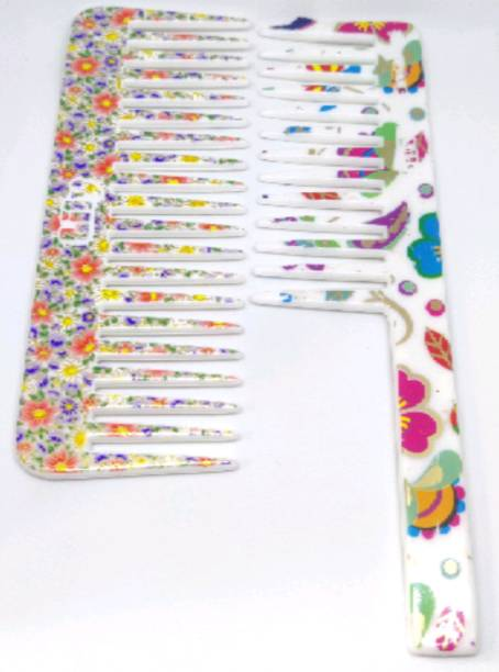 ClueSteps Multi Printed Set of 2 Comb 1 With Handle and 1 Without Handle Comb