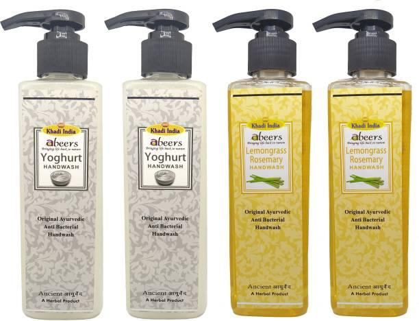 khadi abeers Yoghurt & Lemongrass Rosemary Hand Wash - Pack of 4 (1000ml) Hand Wash Pump Dispenser