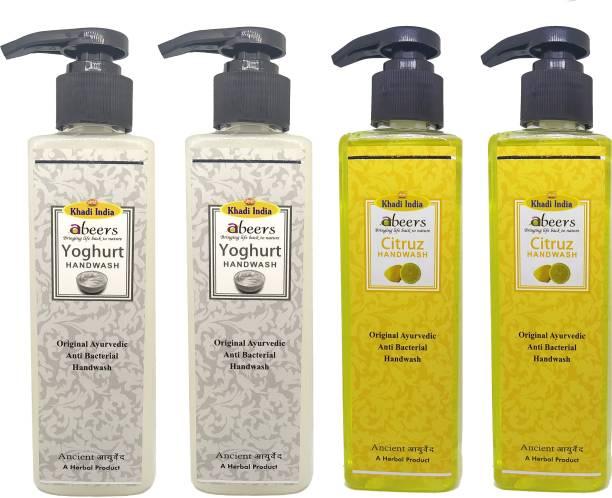 khadi abeers Yoghurt & Citrus Hand Wash - Pack of 4 (1000ml) Hand Wash Pump Dispenser