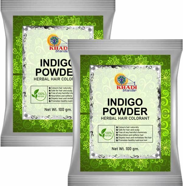 KHADI BHANDAR 100% Pure & Natural Indigo Powder Herbal Hair Colorant (Pack of 2)