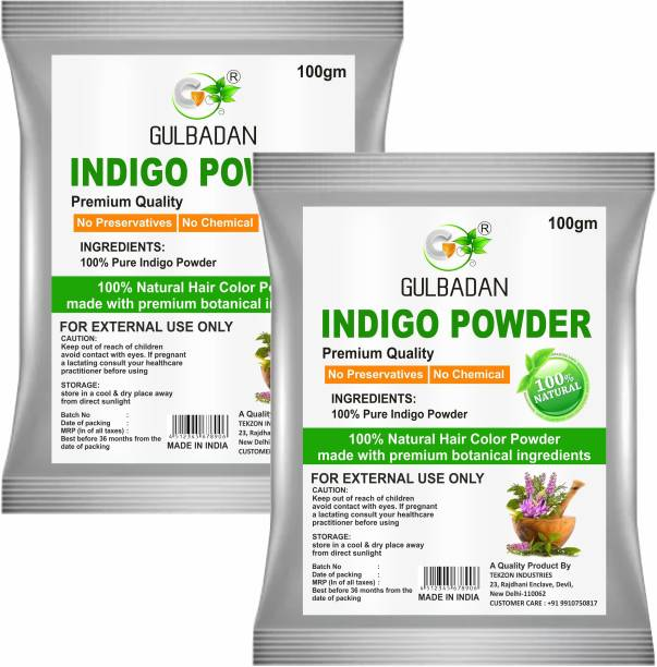 GULBADAN Natural Indigo Powder (Indigofera Tinctoria) For hair care and Herbal Colorant (Pack of 2)