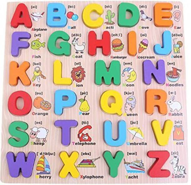 CrazyCrafts Wooden Alphabet English Letters Jigsaw Puzzle Kids Educational (Upper case/ Capital Letters ) Learning Digital Board Educational for Kids Multicolored