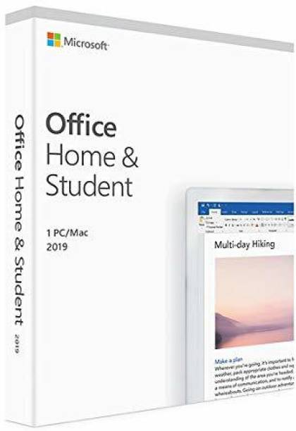 MICROSOFT Office Home and Student 2019, One-Time Purchase - Lifetime Validity, 1 Person, 1 PC or Mac (Activation Key Card)