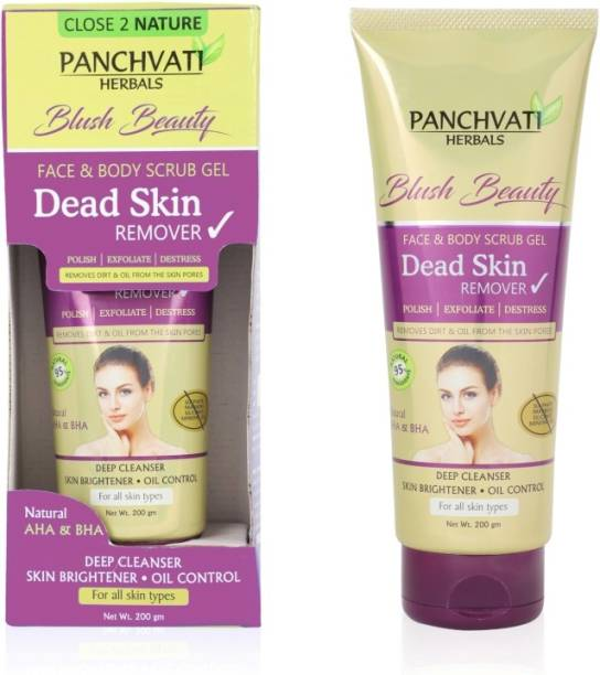 panchvati Dead Skin Remover Gel With pineapple, papaya, tomato & cucumber enzymes extracts (Face & Body Scrub Gel) Parabens & Sulphate Free (200 Grams) For Men & Women Scrub