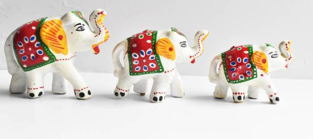 Brothers Creation HandCrafted Set of 3 idol Elephant For Decoration And Gift Purpose Decorative Showpiece Decorative Showpiece  -  5 cm
