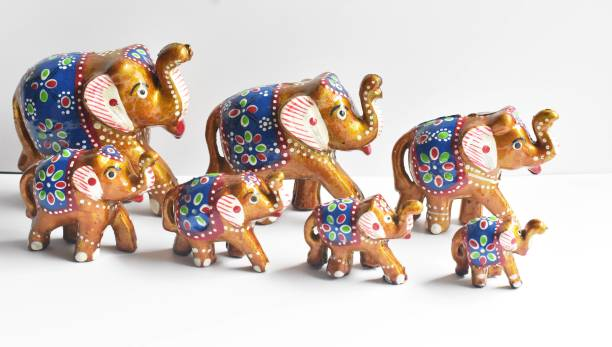 Brothers Creation HandCrafted Set of 7 Elephant Showpiece For Home Decor And Gift Purpose Decorative Showpiece Decorative Showpiece  -  12.5 cm