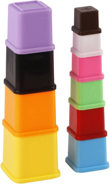 GENIUS GEMS STACKING CUBES FOR TODDLERS.STACK & NEST(10 DIFFERENT SIZED CUBES)