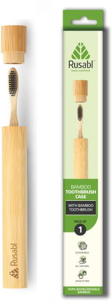 Rusabl Bamboo Toothbrush With Travel Case Soft Toothbrush