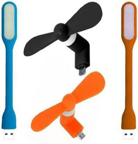Asotai ortable & Flexible 2 USB LED Light, 2 Mini V8 Fan For Mobile/Powerbank/ Computer USB Light with Micro USB V8 Mini Cooling Fan Led Light, USB Fan Asotailight Led Light