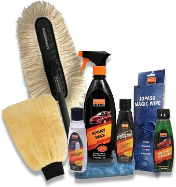 Jopasu Car Care Juggernaut Car Duster, Bio Car Shampoo, Wash Mitt, Jopasu Magic Wipe, Dashboard Dressing, Trim N' Tire Dressing, Spray Wax Combo