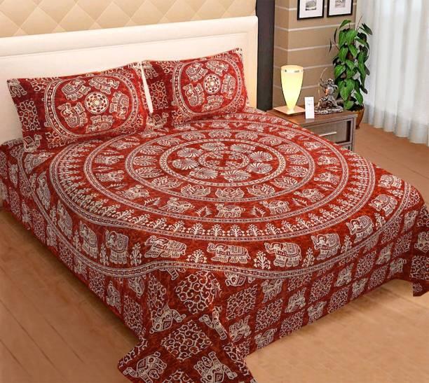 Omera 330 TC Cotton Double King Applique Bedsheet