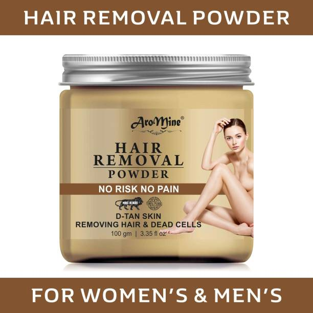 AroMine Hair Removal Powder Three in one Use For Powder D-Tan Skin, Removing Hair & Remove Dead cell For easy Remove Hair Parts No Rics No Pain - Wax