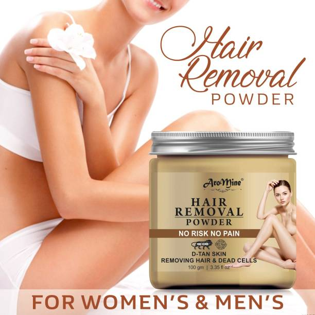 AroMine Hair Removal Powder Three in one Use For Powder D-Tan Skin, Removing Hair & Remove Dead cell For easy Remove Hair Parts No Rics No Pain -For Men & Women- Cream