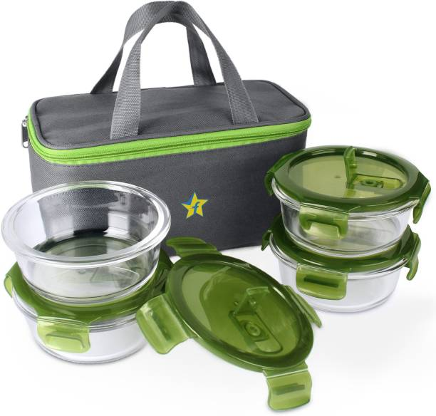 Flipkart SmartBuy H30 Borosilicate Glass Lunch Box - Microwavable, AirVent Lid, Premium Carry Bag, Round Shape 4 Containers Lunch Box