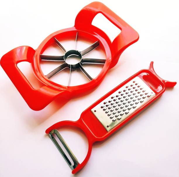 Pnet Gift Pack Rich Red Speed Apple Cutter & Peeler with Grater Straight Peeler Set