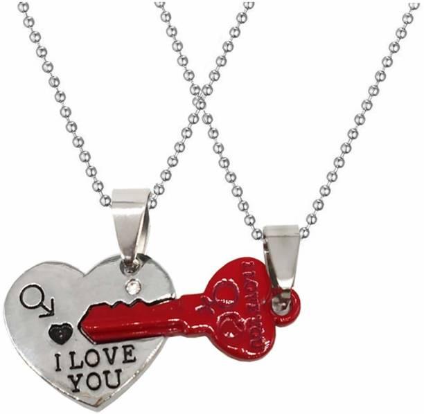 Shiv Jagdamba Valentine Gift I Love You Lock Aand Key Broken Heart Couple Locket With 2 Chain His Her Necklace Chain For Men Women Rhodium Zinc, Metal Pendant Set