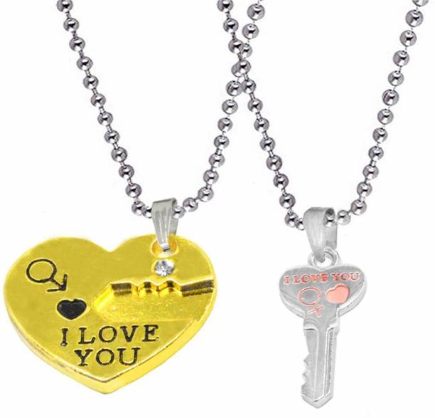 Shiv Jagdamba Valentine Gift I Love You Lock Aand Key Broken Heart Couple Locket With 2 Chain His Her Necklace Chain For Men Women Gold-plated Zinc, Metal Pendant Set