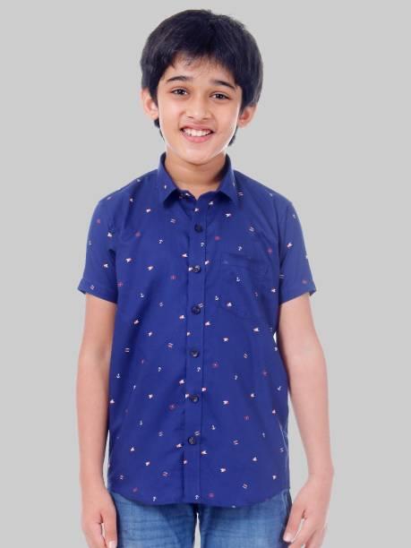 Being Fab Junior Boys Graphic Print Casual Blue Shirt