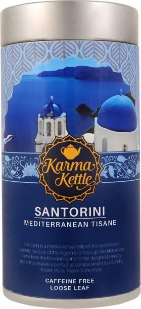 Karma Kettle Santorini Mediterranean Inspired Tisane, Caffeine Free with Rosemary, Peppermint, Sage, Sweet Basil, Thyme, Oregano Green Tea Tin