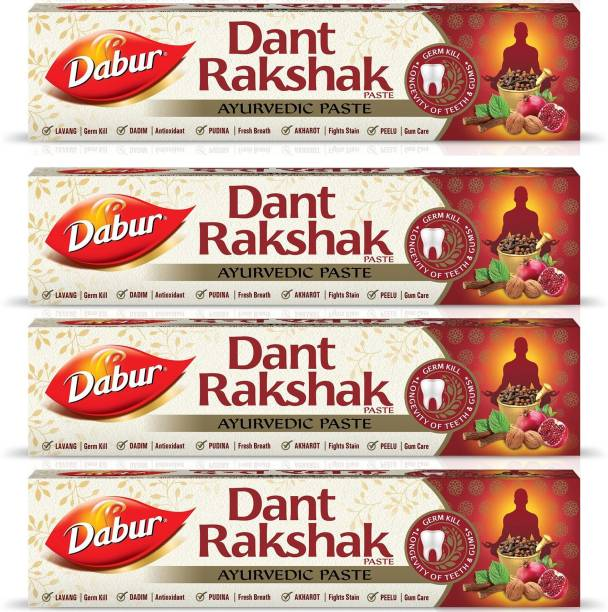 Dabur Dant Rakshak Paste | Contains the goodness of 32 Ayurvedic Herbs for Germ Kill & Longevity of Teeth & Gums - 175 g (Pack of 4) Toothpaste