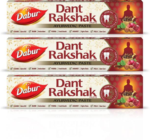 Dabur Dant Rakshak Paste | Contains the goodness of 32 Ayurvedic Herbs for Germ Kill & Longevity of Teeth & Gums - 175 g (Pack of 3) Toothpaste