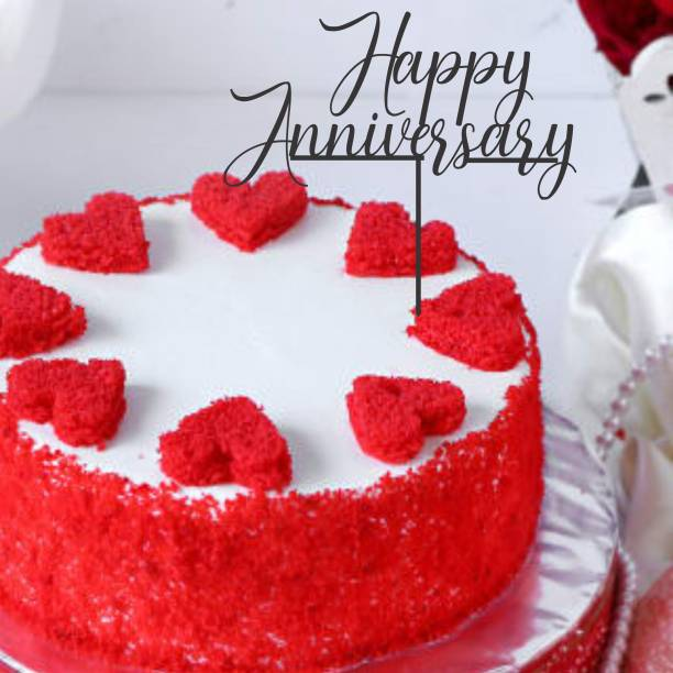 """Creatick Studio """"Happy Anniversary """" Cake Topper / Happy Birthday Cake Decoration Item / Special Cake Decoration for Kids Wife Husband Friend cousin - Pack of 1 (Black) Cake Topper"""