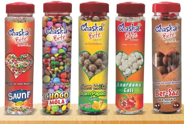 CHASKA BITE PACK OF 5 BOTTLES ( 250 GM X 5 PCS ) ANARDANA FLAVOR, AAM PAPAD FLAVOR, JUJUBE FLAVOR, SWEET SAUNF FLAVOR, CHOCOLATE FLAVOR Candy