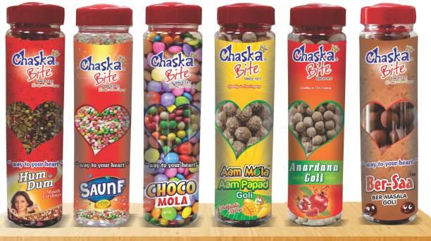 CHASKA BITE PACK OF 6 BOTTLES ( 250 GM X 6 PCS ) ANARDANA FLAVOR, SWEET SAUNF FLAVOR, JUJUBE FLAVOR, AAM PAPAD FLAVOR, CHOCOLATE FLAVOR Candy