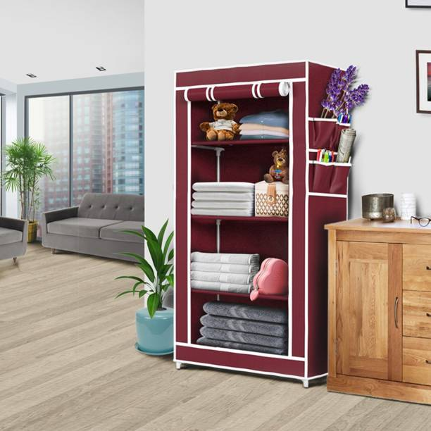thos 4 Shelves Carbon Steel Collapsible Wardrobe