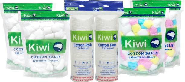 KIWI Combo Pack of Cotton Pads,White Balls,Color Balls (6 Units)