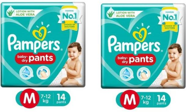 Pampers Pants Diapers New Medium 14Pc,PACK OF_02 - M