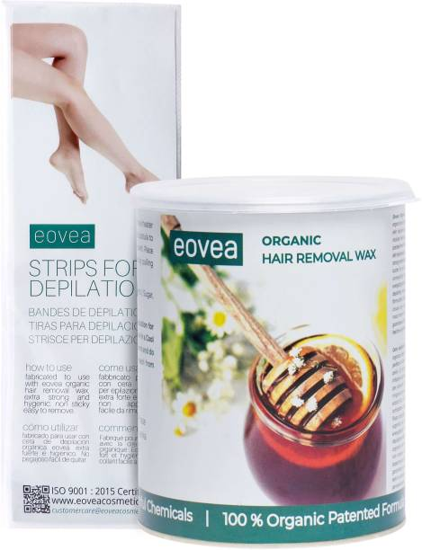 EOVEA Organic Hair Removal Wax with 20 Waxing Strips (1100g) Wax