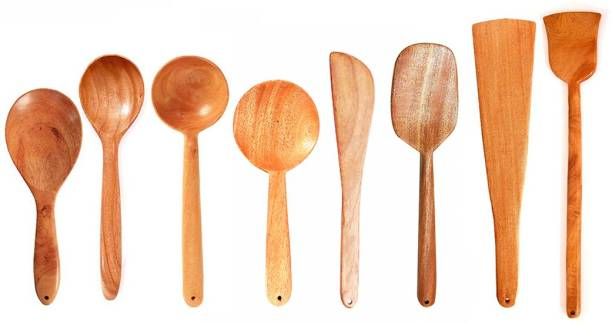 Tora Creations Set 8 Neem Wood Spatulas for Cooking & Serving (Dosa, Roti, Stir, Deep spoon, Serving) Wooden Ladle for non stick (Set of 8) Brown Kitchen Tool Set