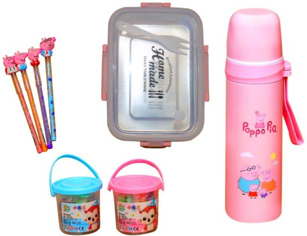 Hardik TOYS Peppa-Pig Party Water Bottle and lanch Box Combo Pack / Stationery Combo School Set