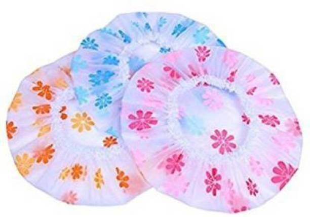 Blueshop Waterproof Elastic Free-Size Shower Caps Bath Hair Spa Shampoo Pack of 3