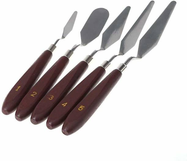 KRSNA ART 5 Pcs Stainless Steel Artists Palette Knife set THIN AND FLEXIBLE for Oil Painting, Acrylic Mixing etc.
