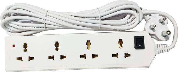 SURYA Extension Board 4 Way 5 Mtr. with Surges and Spike Protection , Extension Cord Long Wire , 4 Way Extension Board 4  Socket Extension Boards