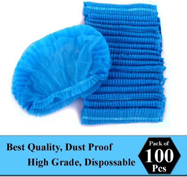 Salta Pack Of 100 Blue Disposable Stretchable Non Woven Hygiene Surgical Head Cap, Cooking Caps, Bouffant Caps, Surgical Cap for Cosmetics, Beauty, Kitchen, Cooking, Home Industries, Hospital Surgical Cap Surgical Head Cap