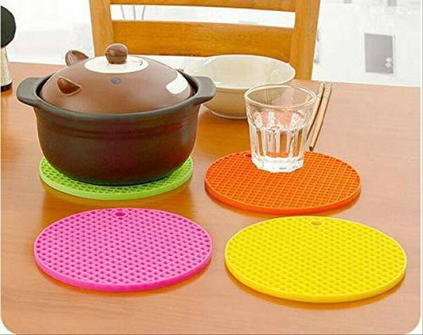 IMPULSE Multipurpose Silicone Round Hot Mat for Kitchen and Dining/Hot Plate Stand, Set of 4 Silicone Trivet