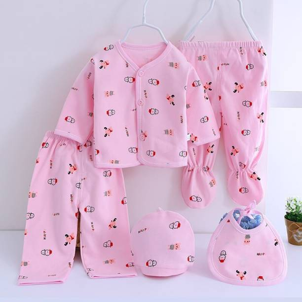 Fancy Walas Presents New Born Baby Summer Wear Baby Clothes 5Pcs Sets 100% Cotton Baby Boys Girls Unisex Baby Cotton/Summer Suit Infant Clothes First Gift For New Born.