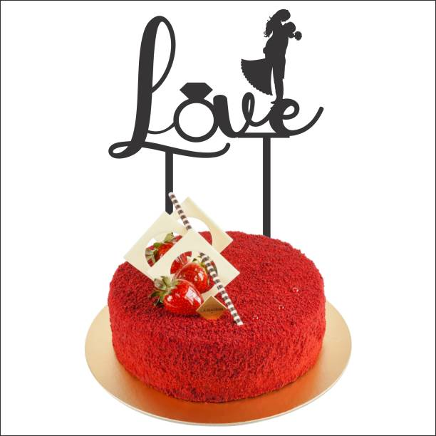 """Creatick Studio """"Love"""" Cake Topper / Cake Decoration Item / Special Cake Decoration for Kids Wife Husband Friend cousin - Pack of 1 (Black) Cake Topper"""