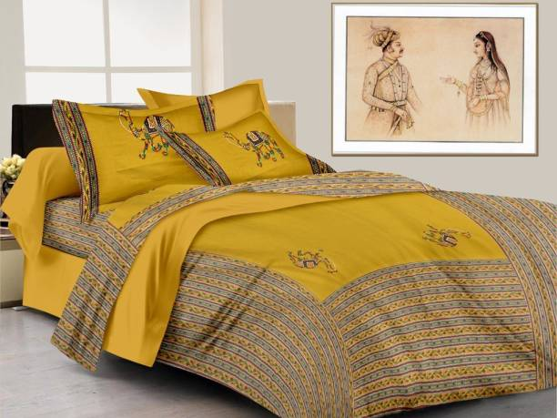 crafton 120 TC Cotton Double Embroidered Bedsheet